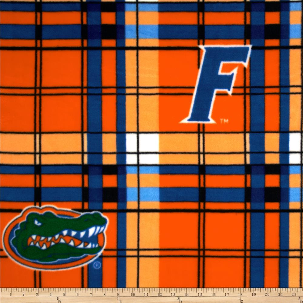 Collegiate Fleece University of Florida Plaid Orange/Blue Fabric By The Yard