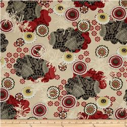 River Mist Metallic Lacy Floral Red/Grey