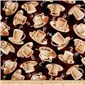 Timeless Treasures Cafe Au Lait Tossed Coffee Cups Espresso
