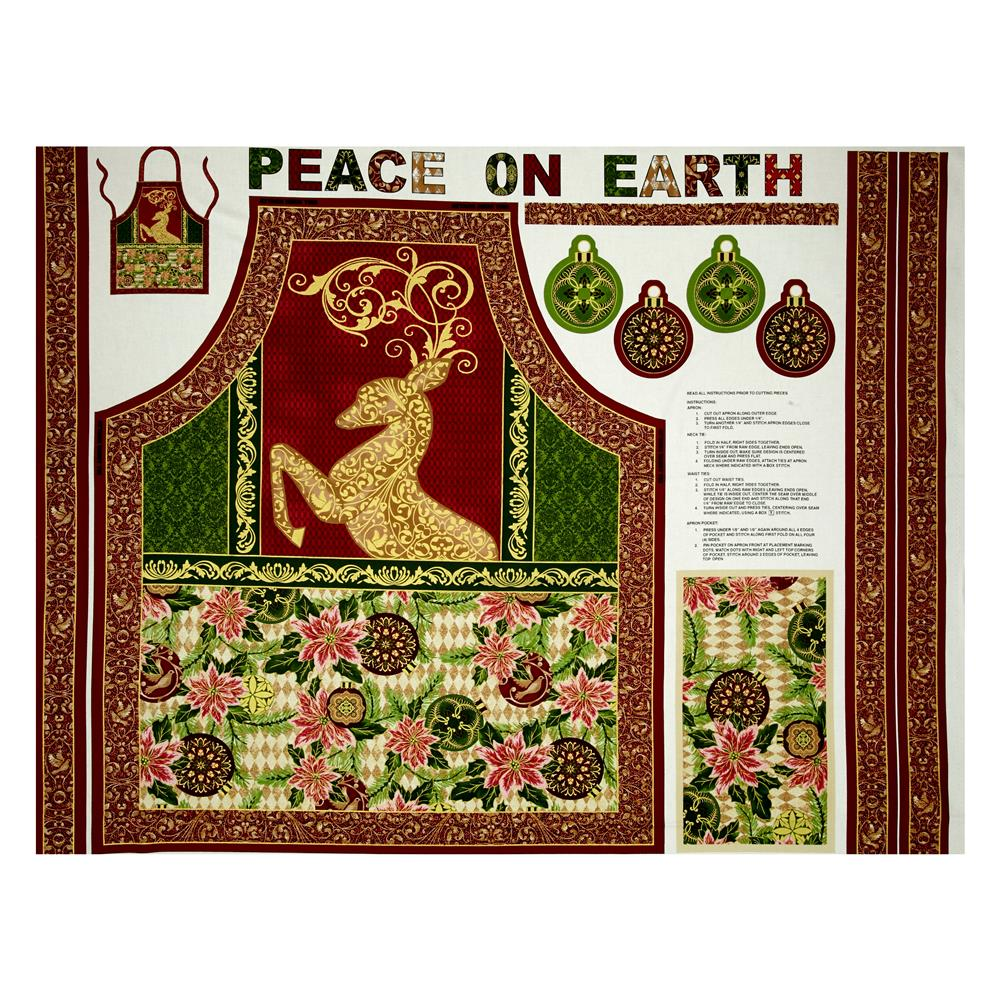 "Peace on Earth Reindeer Apron 35"" Panel Multi"