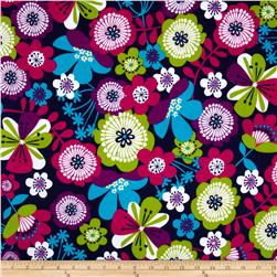 Punch Garden Flannel Large Flowers Bright