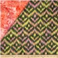 Indian Batik Double Sided Quilted Ikat Dark Green/Multi