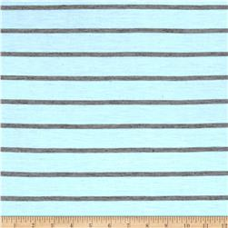 Jersey Knit Gray Mini Stripes on Baby Blue