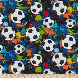 Timeless Treasures Sports Soccer Balls Black Fabric