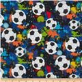 Timeless Treasures Soccer Balls  Black