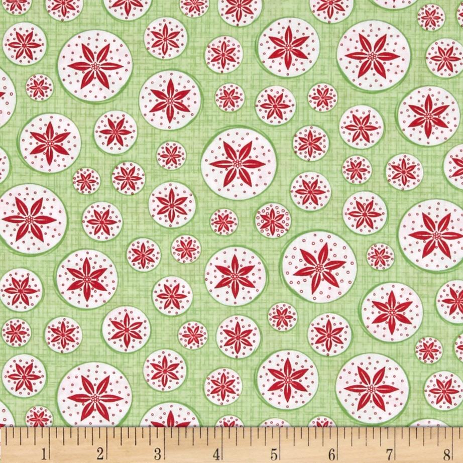 Frosty Forest Poinsettia Circles Green/Red
