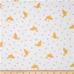 Michael Miller Baby Flannel Dottie Ducks Pink Fabric