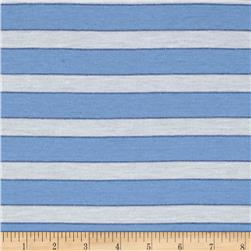 Jersey Knit Stripe White/Light Blue