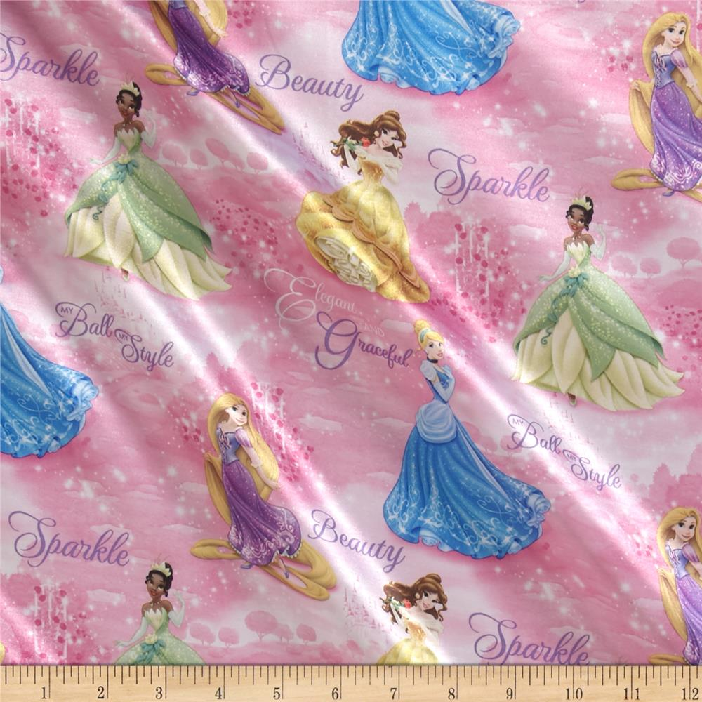 Disney Royal Debut Scenic Brushed Back Satin Pink