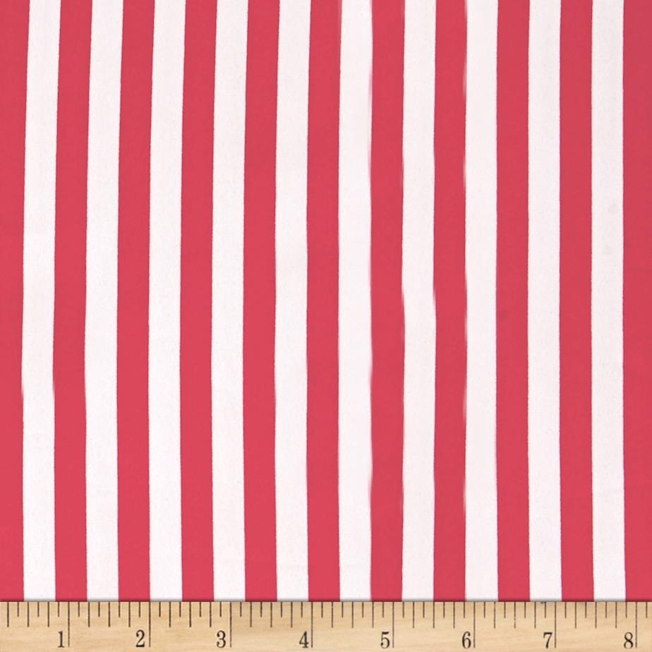 Blousewear Crepe Georgette Small Stripe Coral Red