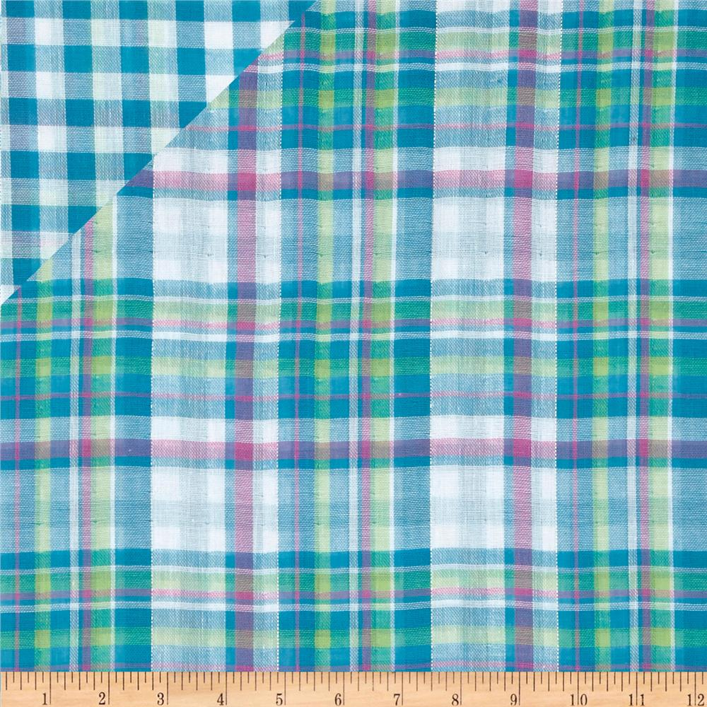 Double Cloth Yarn Dyed Shirting Plaid Turquoise/Lime