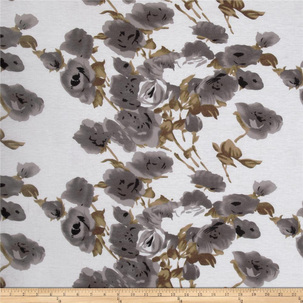 Tissue Jersey Knit Flowers Brown/Grey