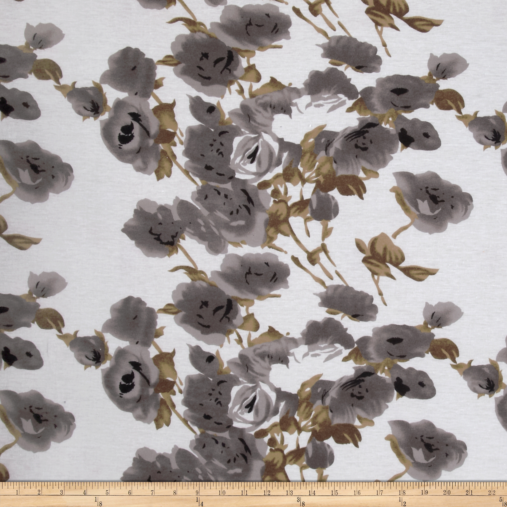 Tissue Jersey Knit Flowers Brown/Grey Fabric