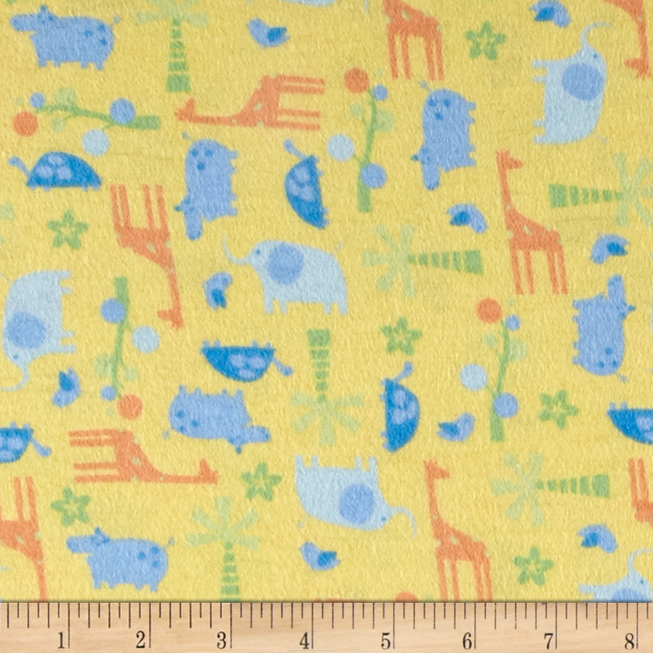 Tiny Zoo Flannel Yellow Fabric by Newcastle in USA