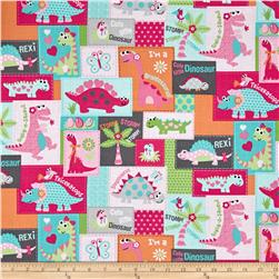 Girly-o-Saurus Patches Pink/Grey/Orange