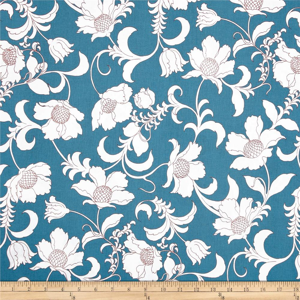 Black and White Gramercy Floral Turquoise/White