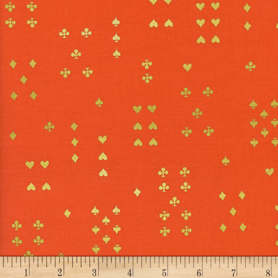 Image of Cotton + Steel Rifle Paper Co. Wonderland Metallic Follow Suit Red Fabric