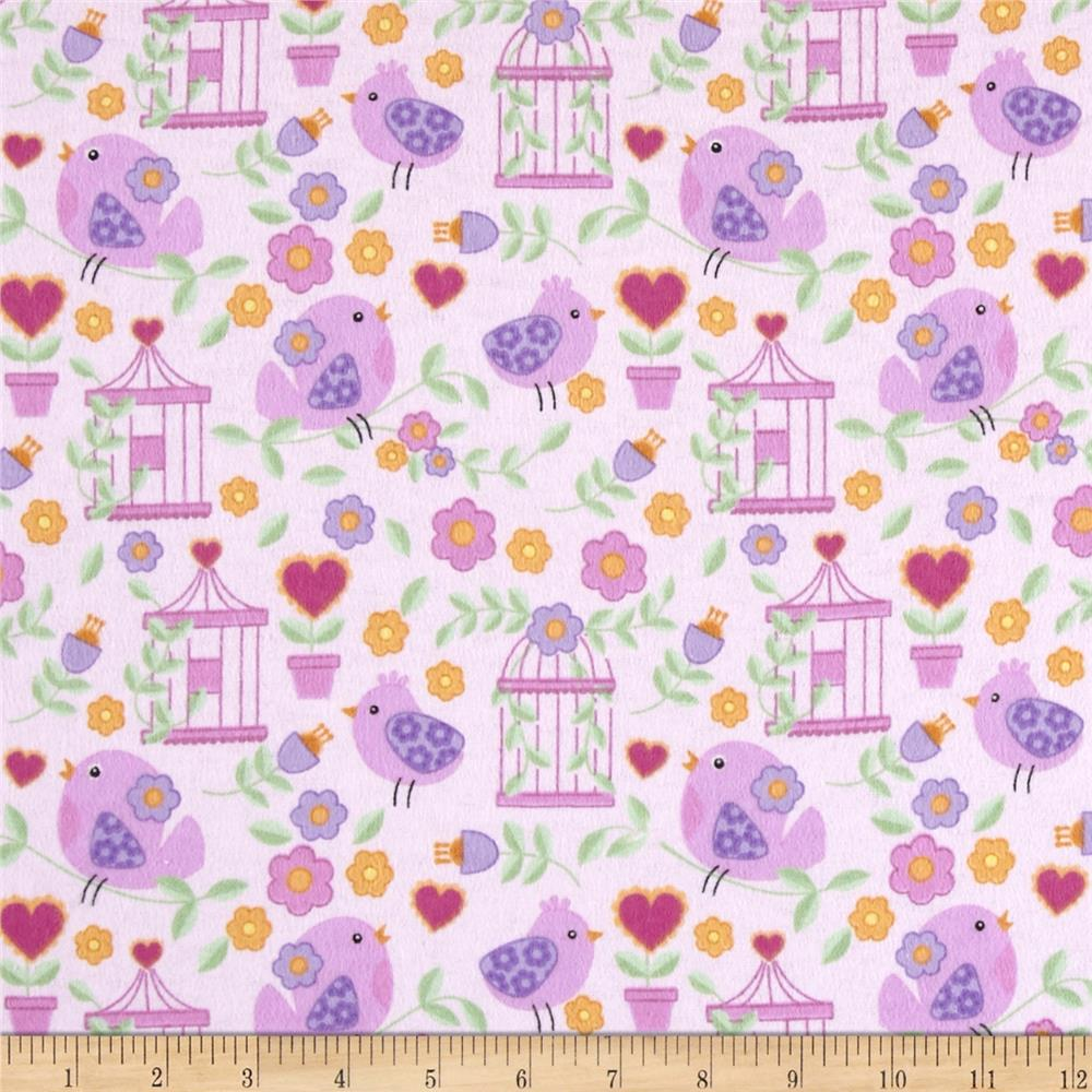 Birds Paradise Flannel Garden Light Pink
