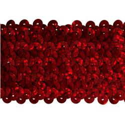 1 3/4'' Hologram Stretch Sequin Trim Red