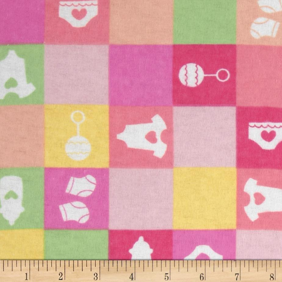 Newcastle flannel baby checks pink discount designer for Cheap baby fabric