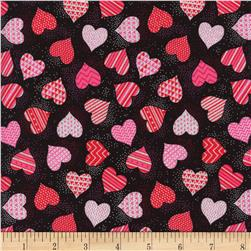 Hearts Metallic Heart Toss Black