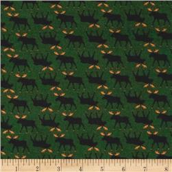 Timeless Treasures Cabin Flannel Moose Pine