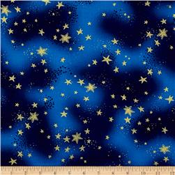 Laurel Burch Enchantment Metallic Stars Dark Sky