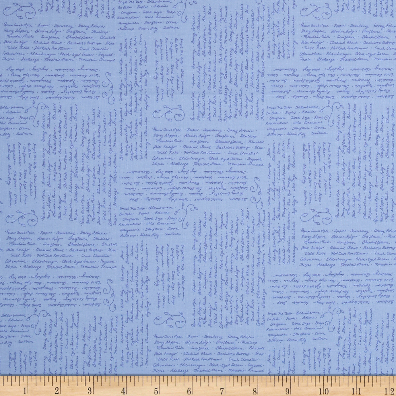 Penny Rose Meadow Sweets Words Blue Fabric by Christensen in USA