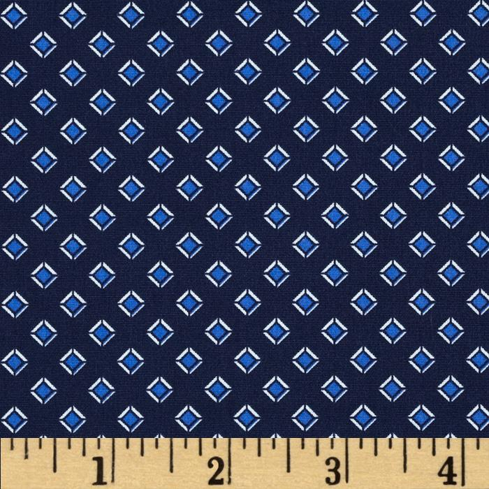 Telio Morocco Blues Stretch Poplin Diamonds Navy/Blue