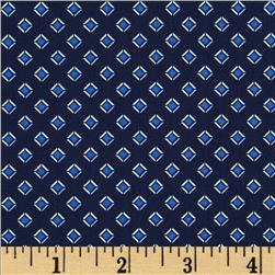 Morocco Blues Stretch Poplin Diamonds Navy/Blue