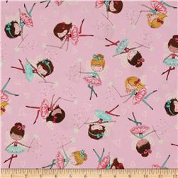 Timeless Treasures Metallic Fairies Pink Fabric
