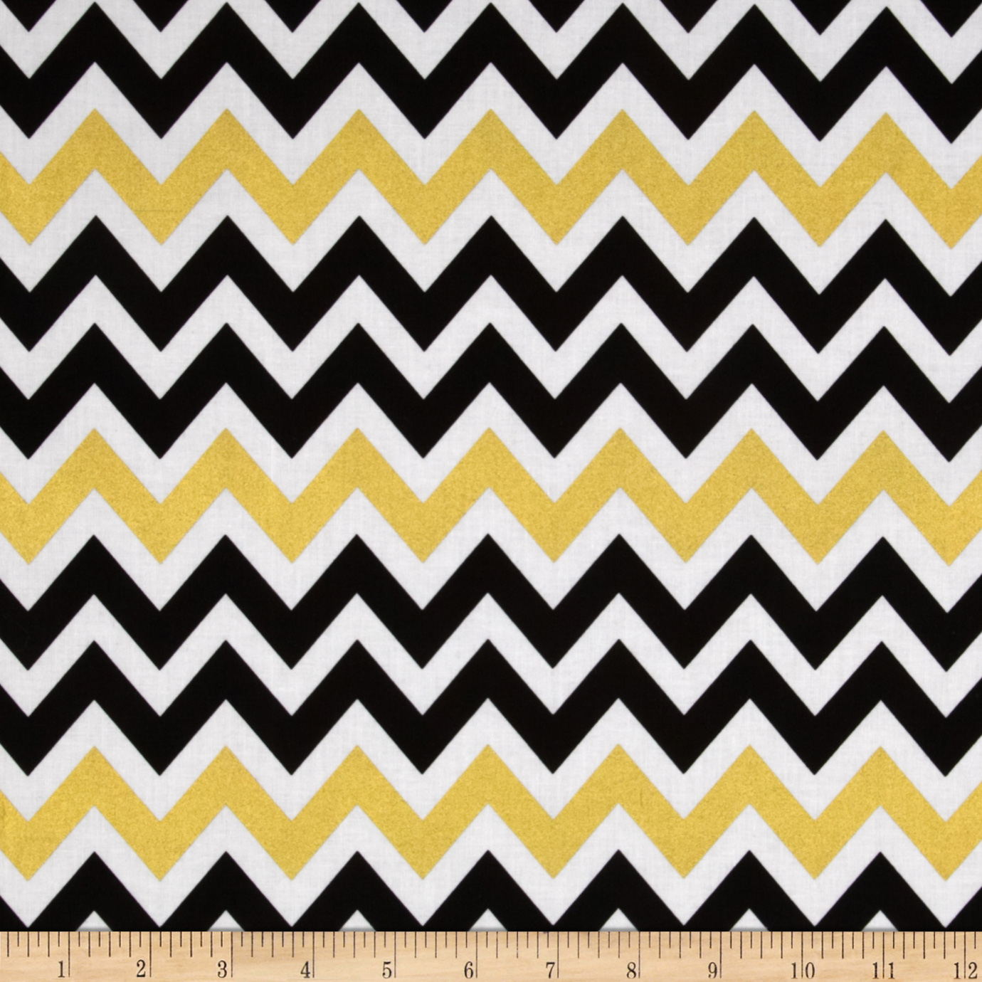 Remix Metallic Large Chevron Ebony Fabric