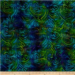 Indian Batik Woven Scroll Blue/Green