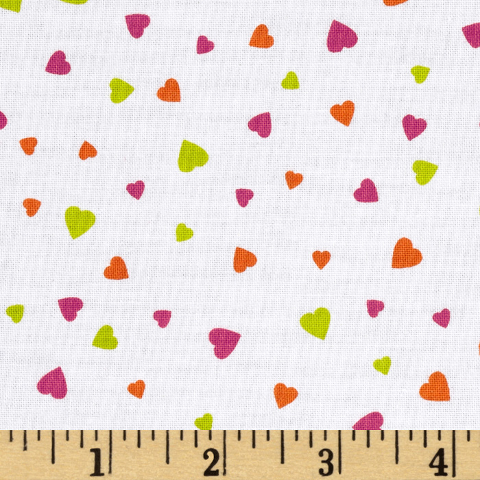 XOXO Mini Hearts White Fabric