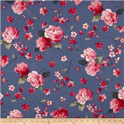 Cosmo Spring Blooms Cotton Linen Blend Purple