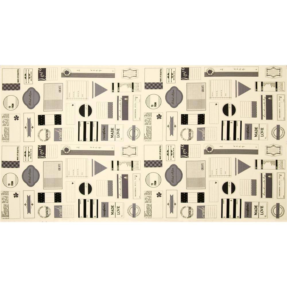 Moda Handmade With Love Label Panel Grey Fabric By The Yard