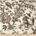 Waverly Williamsburg Asian Arcadia Toile Linen Black Orchid