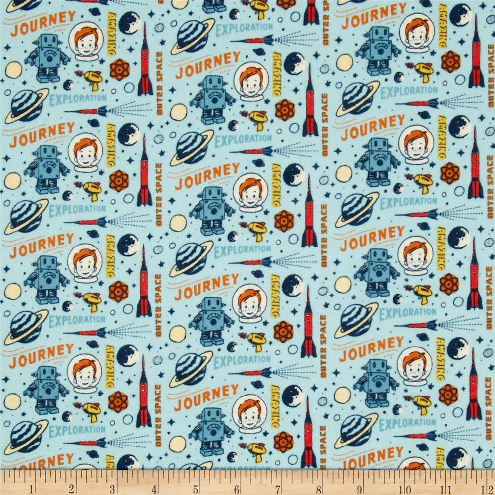Riley Blake Rocket Age Flannel Rocket Captain Blue