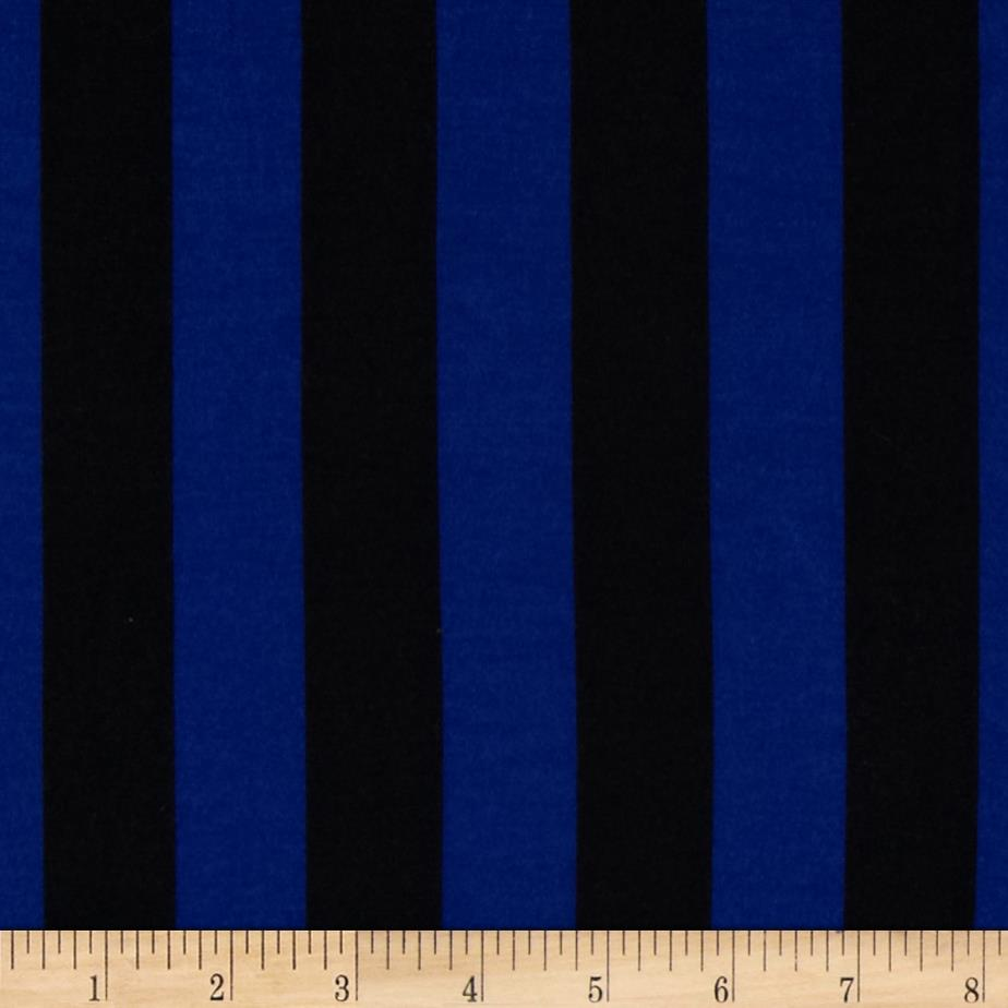 Soft Jersey Knit Mid Stripes Royal/Black Fabric By The Yard