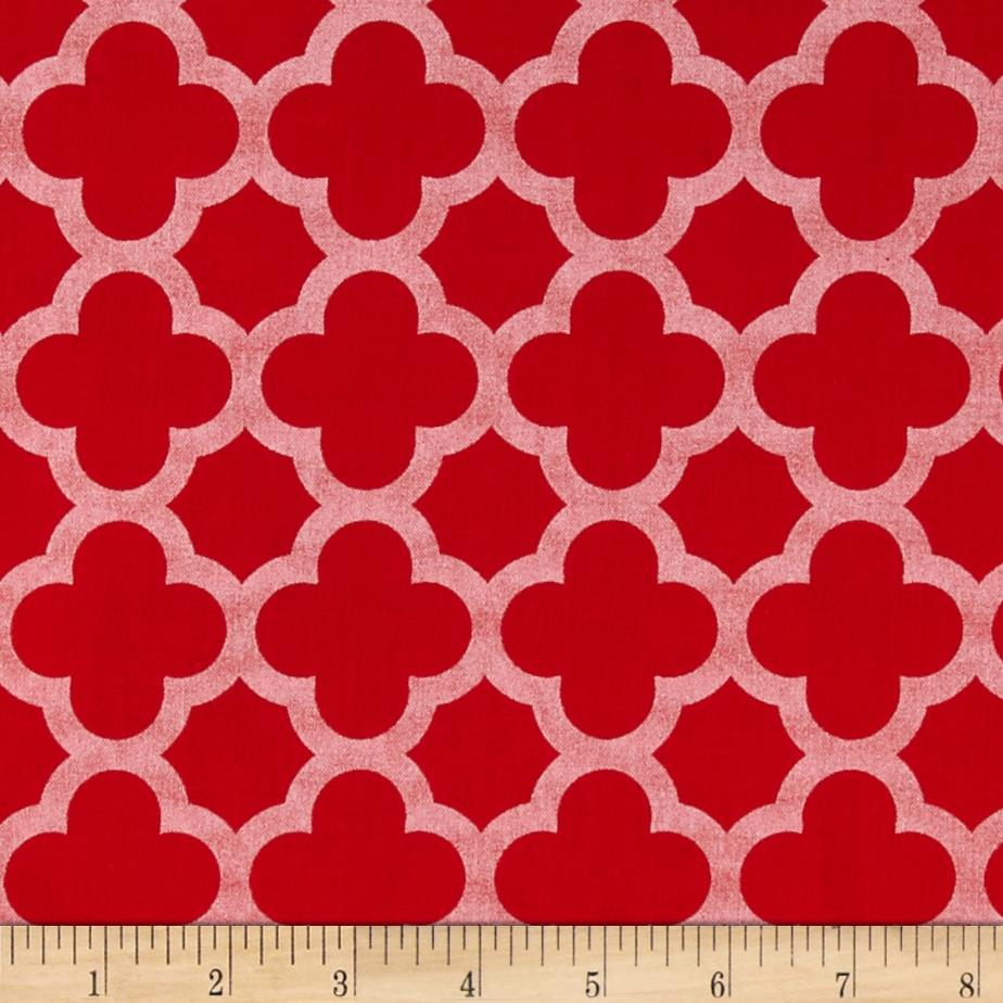 Riley Blake Sparkle Quatrefoil Red