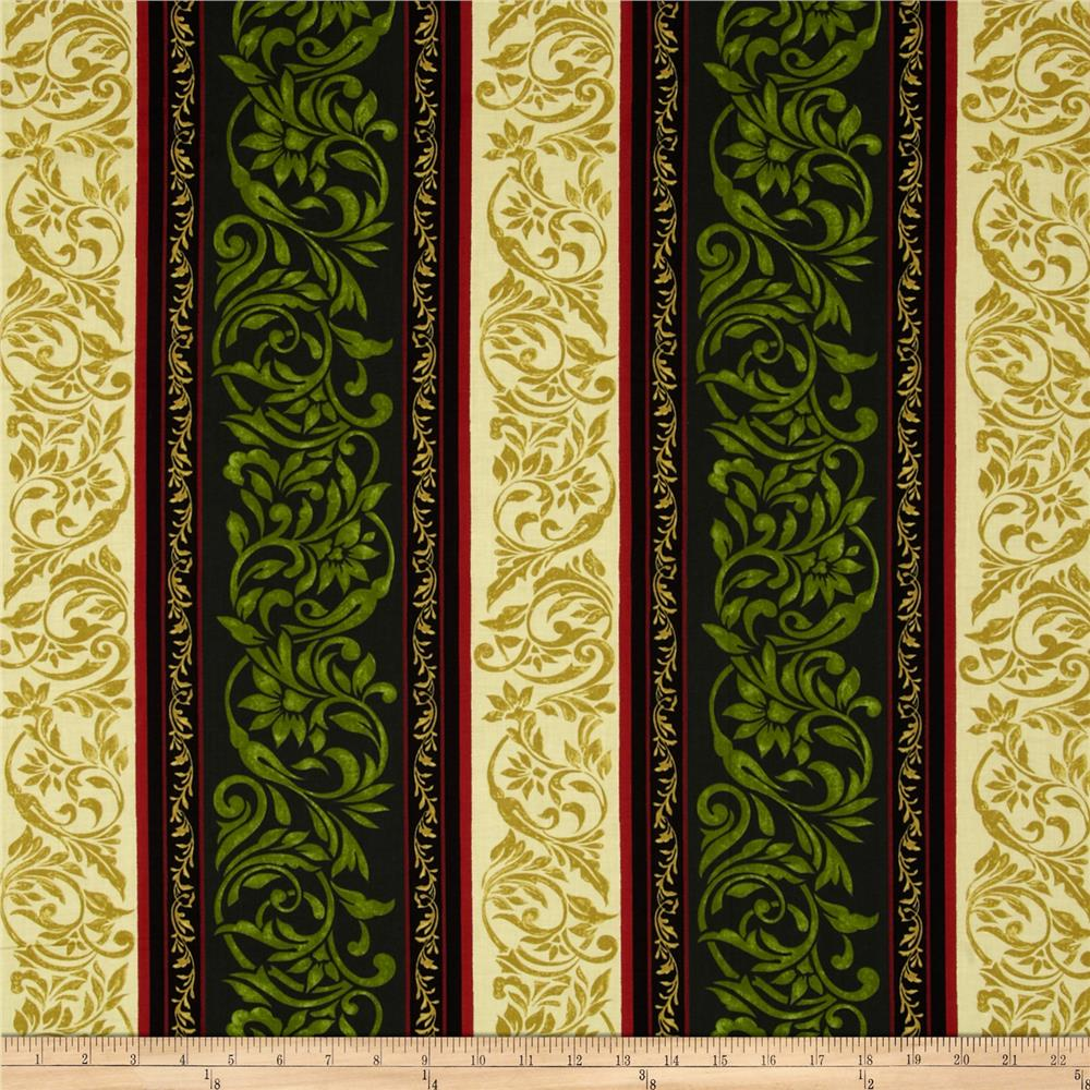 My True Love Gave to Me Damask Stripe Green/Linen Fabric