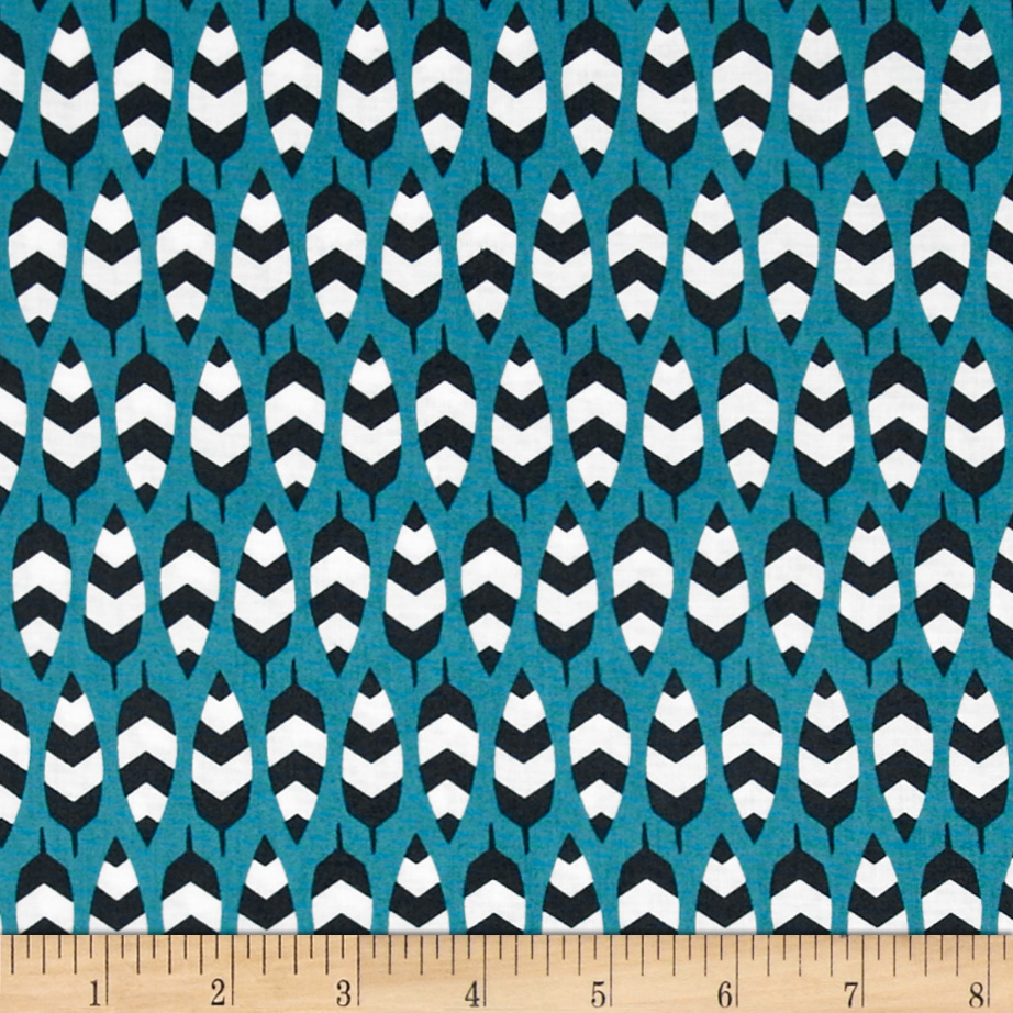 Enchanted Organic Zig Zag Feathers Turquoise Fabric