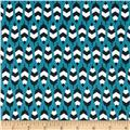 Enchanted Organic Zig Zag Feathers Turquoise