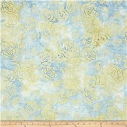 Wilmington Batiks Roses Sky Blue