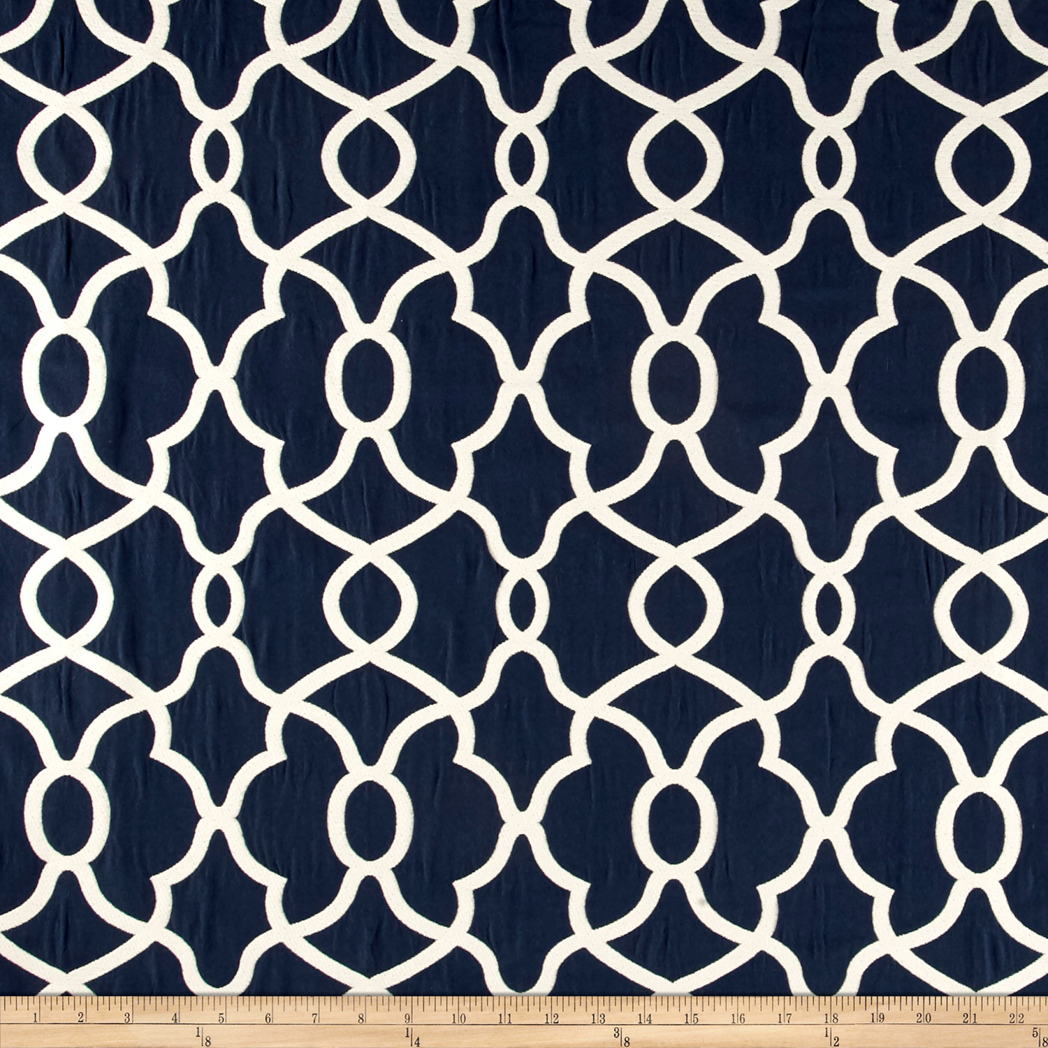 Kelly Ripa Home Clearly Cool Jacquard Indigo Fabric by Waverly in USA