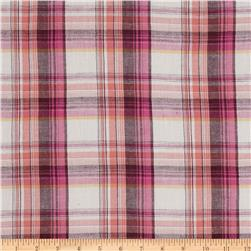 Cotton Gauze Yarn Dyed Shirting Plaid Coral/Pink