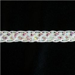 1/2'' Sequin Braid Cord Trim Crystal Aurora Borealis