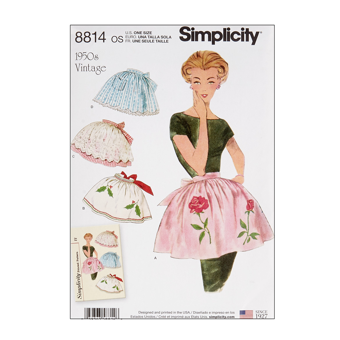 Vintage Aprons, Retro Aprons, Old Fashioned Aprons & Patterns Simplicity 8814 Misses Vintage Aprons OS One Size $13.77 AT vintagedancer.com