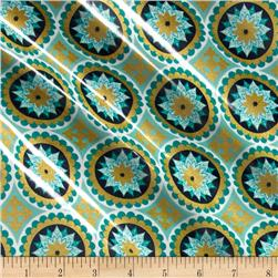 Riley Blake La Vie Boheme Laminate Sparkle Medallion Teal