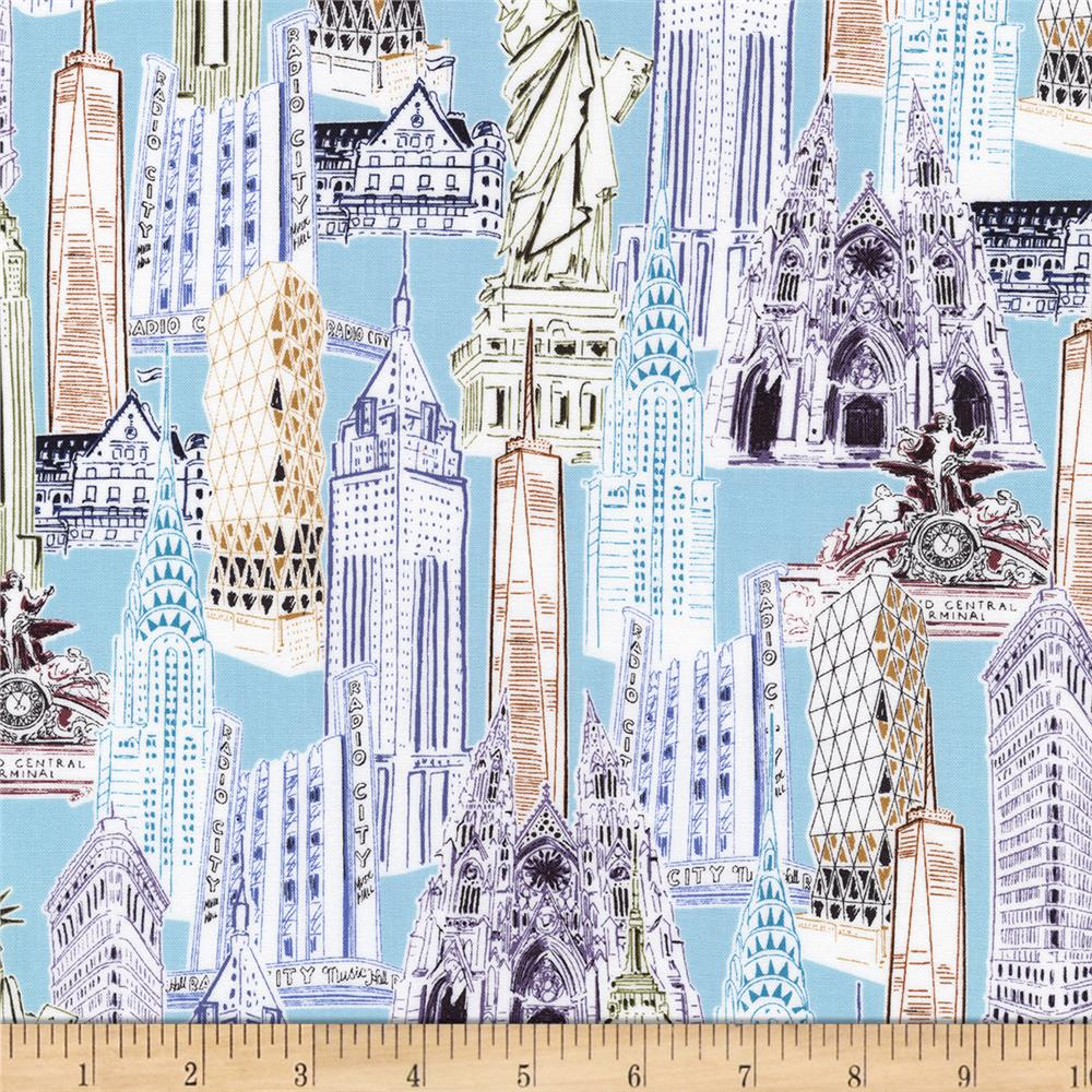 Kaufman Dream Vacation New York City Collage Vintage Discount Designer Fabr